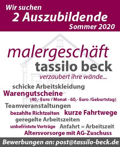 Stellenanzeige Malergeschäft Tassilo Beck Azubi